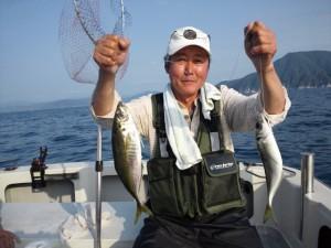 山田さんの大アジ43cm
